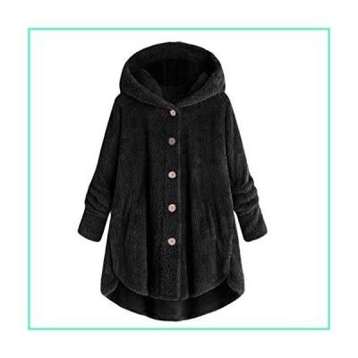 URIBAKE Women Casual Plush Asymmetrical Design Hooded Cute Coat Wool & Blends Black並行輸入品