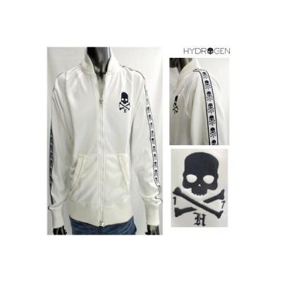 ハイドロゲン HYDROGEN メンズ アウター ジャケット チェストスカル・袖スカルプリント入りダメージ加工ジップジャケット ロゴ 白 081035 001  WA11S