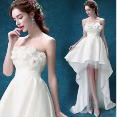 ウェディングドレス パーティードレス フォーマルドレス 着痩せ 結婚式ドレス 大人 上品 不規則ワンピース