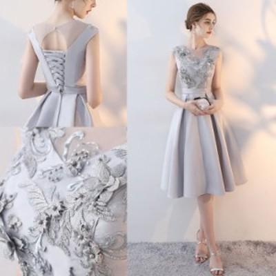 ラウンドネック 花柄 刺繍 華やか ゴージャス ウエストマーク バックシャン クロス編み 膝丈 ドレス
