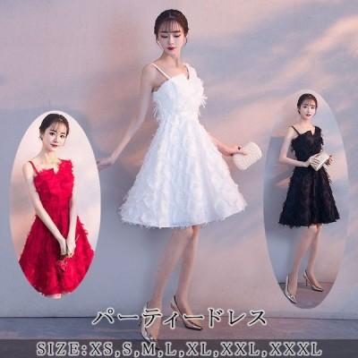 パーティードレス 膝丈 ミディアム ショート 袖なし アシンメトリー 大きいサイズ 花柄刺繍 レース 結婚式 お呼ばれ 二次会 発表会 ワンピース ドレス