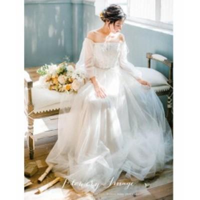 パーティドレス レディース オフショルダー レースワンピース チュール重ね 天使風 ブライダル花嫁 エレガント 結婚式 二次会 お呼ばれ 2