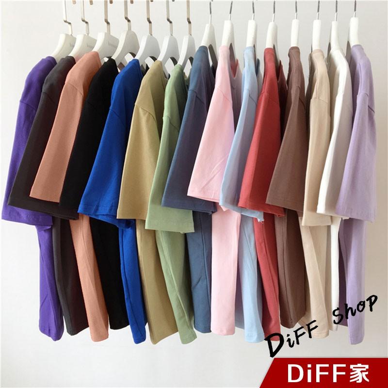 【DIFF】韓版寬鬆百搭圓領短袖上衣 短袖t恤 女裝 顯瘦上衣 衣服 寬鬆上衣 素T【T187】