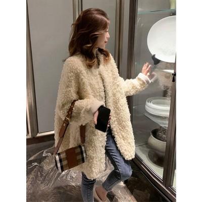 ノーカラーコート ボアコート アウター ジャケット コート カーディガン ミディ丈 ポケット付 ゆったり 3色 パステルカラー 暖かい 防寒 カジュアル 大人可愛い