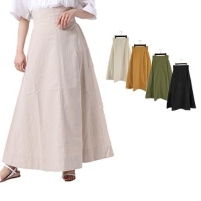 フレアスカート マキシスカート ロング 無地 綿 コットン100% スカート ボトムス レディース  ライトベージュ SALE セール