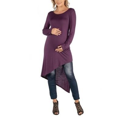 24セブンコンフォート ワンピース トップス レディース Full Length Long Sleeve Asymmetric Hem Maternity Top Dark Purple