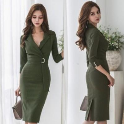 ミニドレス パーティードレス ミニ ドレス ワンピース 袖付き 七分袖 タイトドレス 大きいサイズ