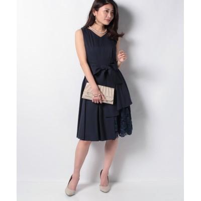 (INTERPLANET/インタープラネット)ウエストタック入り刺繍レース使いドレス/レディース ネイビー