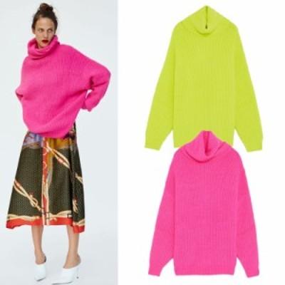 セーター ニット オフタートル 長袖 無地 大人可愛い ゆったり オーバーサイズ カジュアル 韓国ファッション 春夏 デート お出かけ 女子