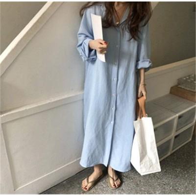 めっちゃかわいい!🌹 怠惰な風 ロング シャツのスカート 女性 韓国 INSスタイル シンプル 快適 単体ボタン カジュアル ロングスカート ひざ丈 シャツ ドレス ゆったりする