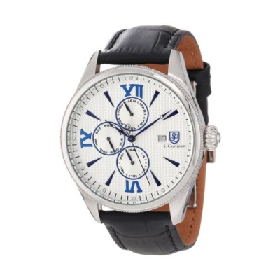 S. Coifman Men's SC0167 Silver Textured Dial Black Leather Watch 並行輸入品