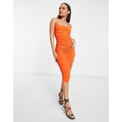 ミスガイデッド レディース ワンピース トップス Missguided slinky midi dress in orange