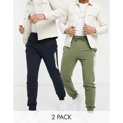 ジャック アンド ジョーンズ Jack & Jones メンズ ジョガーパンツ 2点セット 2 pack joggers in navy and dusty olive ネイビー/ダスティーオリーブ