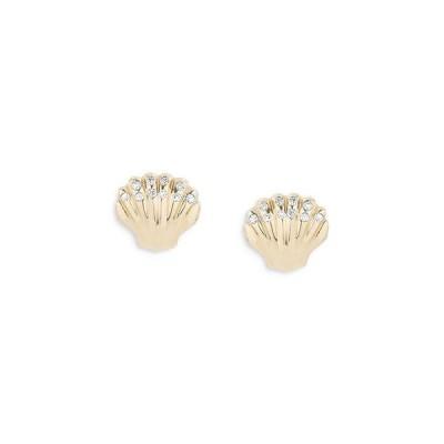アディナ レイター レディース ピアス・イヤリング アクセサリー 14K Yellow Gold Sea Creature Diamond Clamshell Stud Earrings