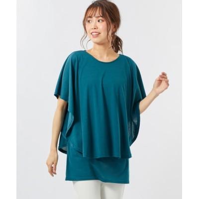 【大きいサイズ】 吸汗速乾UVカットフレアスリーブカットソートップス(オトナスマイル) plus size T-shirts, テレワーク, 在宅, リモート