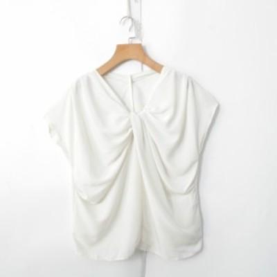 ブラウス レディース シャツ ブラウス Vネック プルオーバー きれいめ 上品 ホワイト