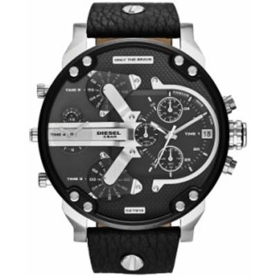 ディーゼル メンズ 腕時計 アクセサリー Men's Chronograph Mr. Daddy 2.0 Black Leather Strap Watch 66x57mm DZ7313 Black/Black