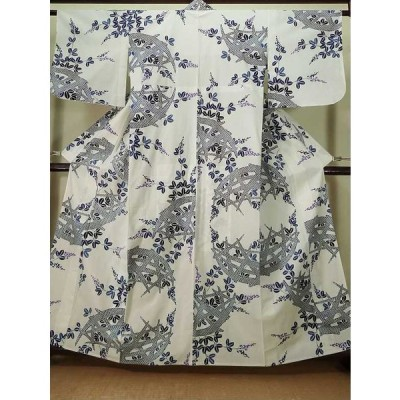 着物 注染浴衣 女性用 和服  綿麻   白, 萩 【中古】 【USED】 【リサイクル】 ★★☆☆☆ K0421P