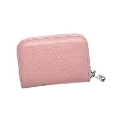 本革製 カードケース 財布 RFID スキミング防止 レザー 男女兼用カード入れ クレジットカードホルダー 革 ジッパー付き メンズ (ピンク)