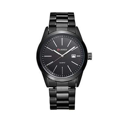 ファッションブラックCurrenカジュアルフルスチールクォーツウォッチメンズブラックビジネス腕時計防水ボック