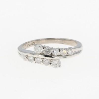 メレダイヤ デザインリング プラチナ 指輪 リング 10.5号 Pt900 ダイヤモンド レディース 中古