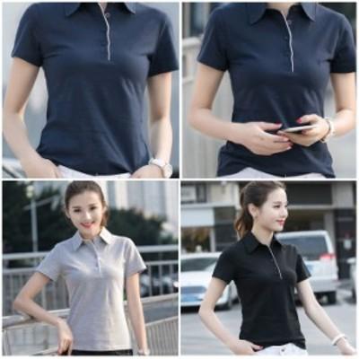 スリムラインポロシャツ 半袖 ボタン3個 無地 原色 ビビッド トップス レディース