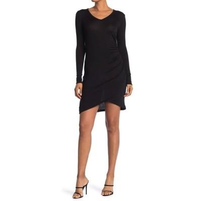 ジュンアンドハドソン レディース ワンピース トップス Side Rouched Knit Dress BLACK
