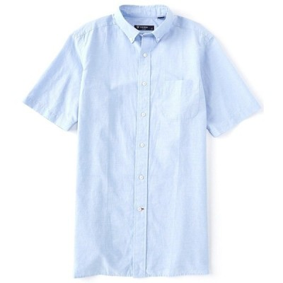 クレミュ メンズ シャツ トップス Solid Tone Short-Sleeve Woven Shirt Vista Blue