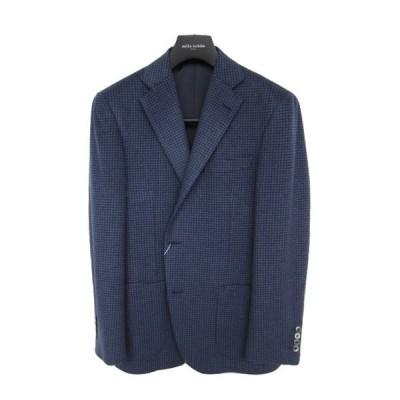30%OFFセール ミラショーン メンズジャケット ピュアカシミヤ ガンクラブチェック ブルー ms02