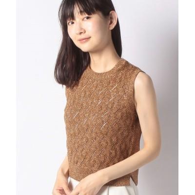 【アナイ】 ミックスラメアーガイル柄プルオーバー レディース ブラウン 36 ANAYI