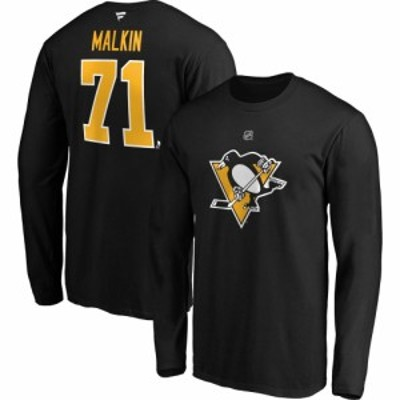 ファナティクス Fanatics メンズ トップス NHL Pittsburgh Penguins Evgeni Malkin #71 Black Long Sleeve Player Shirt