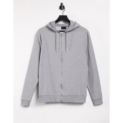エイソス メンズ パーカー・スウェット アウター ASOS DESIGN organic lightweight zip up hoodie in gray marl