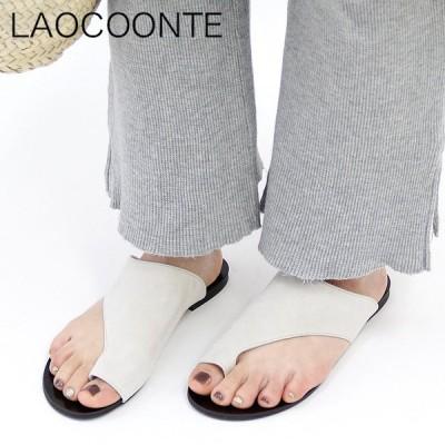 LAOCOONTE ラオコンテ サンダル フラット トングサンダル 本革 スエード ホワイト 白 ブラック 黒 レディース lorena