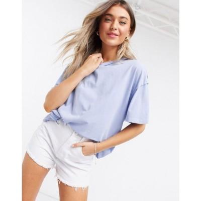 エイソス ASOS DESIGN レディース Tシャツ トップス oversized t-shirt with exposed seams in washed blue ブルー