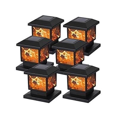 MAGGIFT ソーラーフレームポストライト 屋外の明るさ72 SMD LED 揺らめく炎 ソーラーパワーキャップライト ハロウィンクリスマス用 4x
