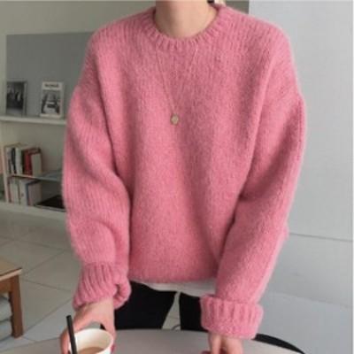 大人ピンクなセーター プルオーバー ニット セーター クルーネック 長袖 厚手 無地 ローズピンク S M L LL 暖かい ゆるニット レディース