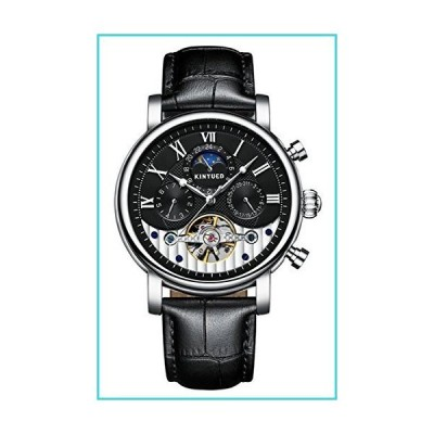 Men's Watches Moon Phase Skeleton Classic Calendar Tourbillon Automatic Mechanical Wristwatches (Silver Black)【並行輸入品】