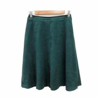 【中古】インディヴィ INDIVI フレアスカート ひざ丈 フェイクスエード 36 緑 グリーン /ST レディース
