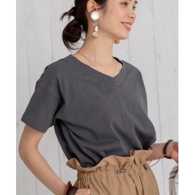 coen / 【WEB限定カラー】UVカット機能付きUSAコットンVネックTシャツ# WOMEN トップス > Tシャツ/カットソー
