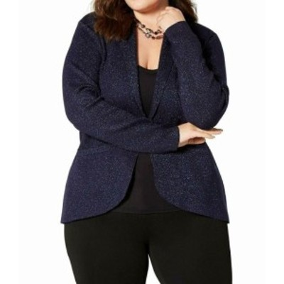 Midnight  ファッション 衣類 Belldini Womens Midnight Blue Size 1X Plus Glitter Draped Open Jacket