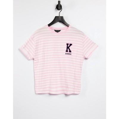 ニュールック レディース シャツ トップス New Look collegiate kindness slogan boxy t-shirt in pink stripe