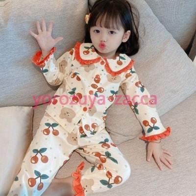韓国子供服 キッズ パジャマ ベビー 長袖 女の子 ルームウェア 80 90 100 110 120 130cm 春 秋 子供 おしゃれ シンプル スウェット