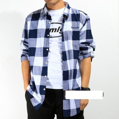 カジュアルシャツ 長袖シャツ メンズ チェックシャツ スリム ボダンダウンシャツ チェック柄 ルームウェア トップス 2019