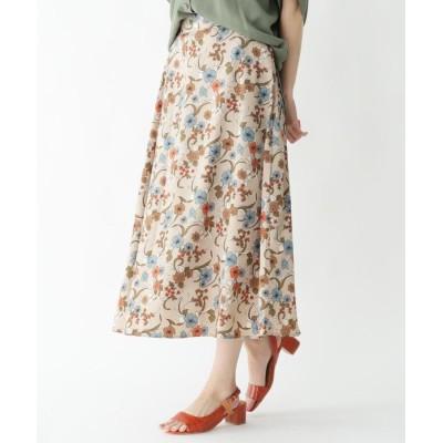 HusHusH(Ladies)(ハッシュアッシュ(レディース)) 【洗濯機OK】レトロフラワー柄ロングスカート