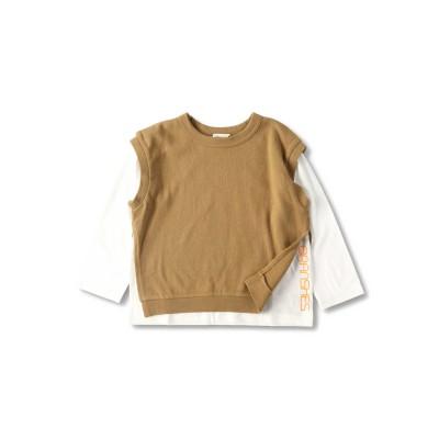 【branshes】ベスト重ね着長袖Tシャツ