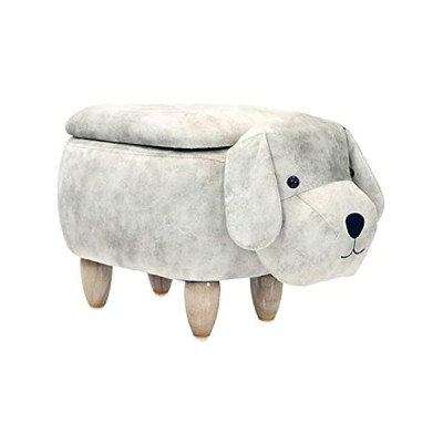 """Critter Sitters Light Gray 15"""" Seat Height Animal Storage Dog-Faux Leather"""