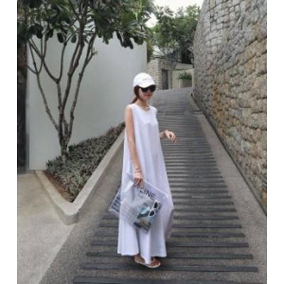 送料無料 ワンピース 大きいサイズ  ロングシャツ ノースリーブ リネン マキシ丈 レディース 韓国 オルチャン ファッション リゾート