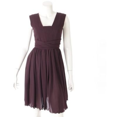 【フォクシーニューヨーク】Foxey New York ノースリーブ ワンピース ドレス 24620 パープル 38  【中古】【正規品保証】44795