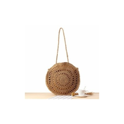 [Coffee]ファッション女性編まれたハンドバッグラウンドRatストローショルダーバッグ夏ビーチ財布
