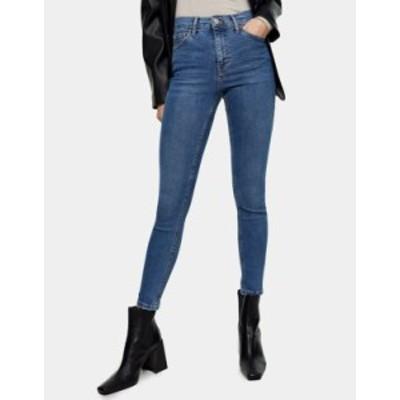 トップショップ レディース デニムパンツ ボトムス Topshop Jamie abraded hem skinny jeans in mid wash blue Midwash blue